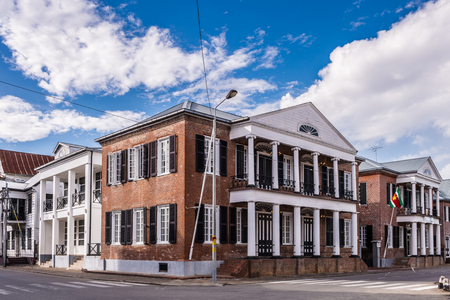 Historic architecture of the Waterkant street in the  historic city of Paramaribo, Suriname. The historic inner city of Paramaribo is a UNESCO World Heritage Site since 2002. Stock Photo