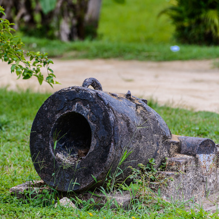 Cannons in the Fort Nieuw Amsterdam, Suriname, South America Stock Photo