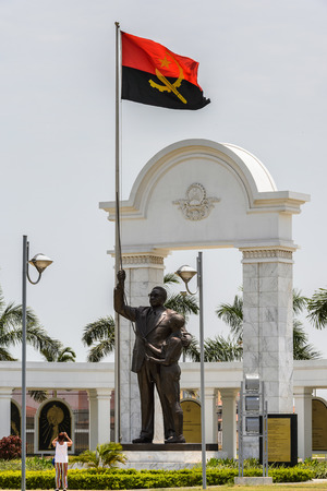 Monument in Luanda and the national flag of Luanda, Angola Stock Photo