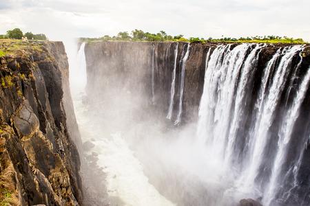 Scenic view of the Victoria Falls, Zambezi River, Zimbabwe and Zambia Stock Photo