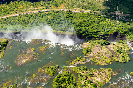 zimbabwe: Amazing air view  of the Victoria Falls, Zambia and Zimbabwe.