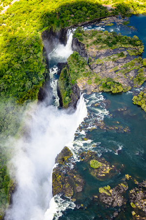 Amazing air view  of the Victoria Falls, Zambia and Zimbabwe.