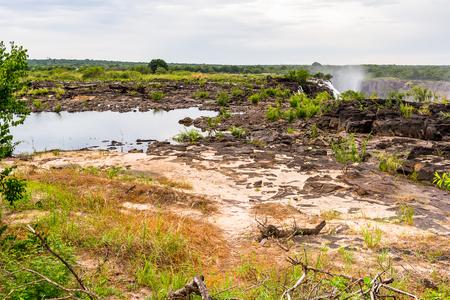 Landscape of the Zambezi river and Livingstone Island, named after the Scottish  explorer David Livingstone