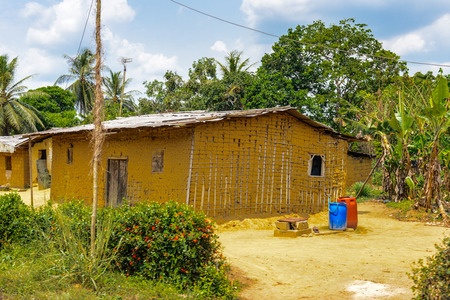 Old house in Cameroon where the poor people have to live in Stock Photo