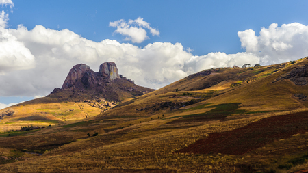 continente africano: Beautiful sight of a two peaks rock and the mountain in Madagascar Foto de archivo