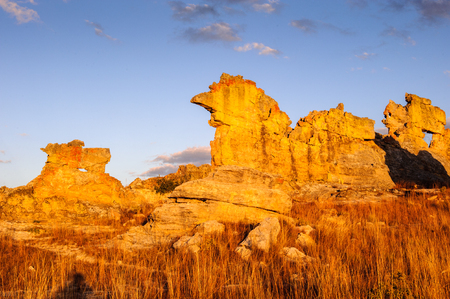 wierd: Wierd rock on the sunset in Madagascar Stock Photo