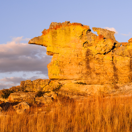 Wierd rock on the sunset in Madagascar Stock Photo