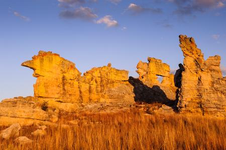 Wierd rock on the sunset in Madagascar Stock Photo
