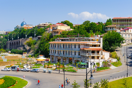 TBILISI, GEORGIA - JULY 18, 2014: Architecture and traffic of Tbilisi, Georgia. Tbilisi is the capital and the largest city of Geogia with 1,5 mln people population