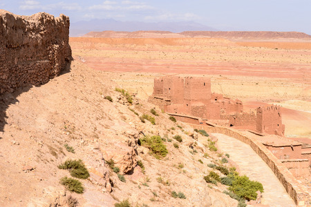 Ruins of Ait Benhaddou, a fortified city, the former caravan way from Sahara to Marrakech. Stock Photo