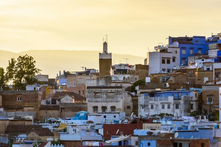Panorama of Chefchaouen, Morocco. Town famous by the blue painted walls of the houses