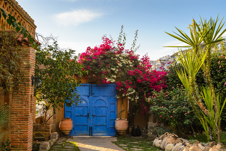 Architecture of Chefchaouen, Morocco. Stock Photo