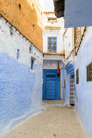 Blue painted walls of the houses in Chefchaouen, small town in northwest Morocco famous by its blue buildings