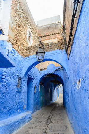 Blue wall of Chefchaouen, small town in northwest Morocco famous by its blue buildings Stock Photo