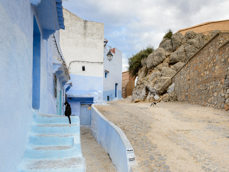 Blue walls street of Chefchaouen, Morocco.