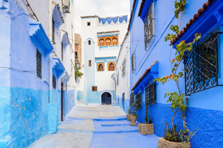 Architecture of Chefchaouen, Morocco. 스톡 콘텐츠