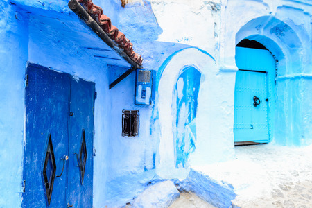 Blue walls of the houses  of Chefchaouen, Morocco. Stockfoto