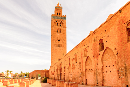 Minaret of the Koutoubia Mosque of Marrakesh, Morocco. It is the capital city of the mid-southwestern region of Marrakesh-Asfi.