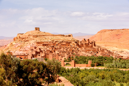 Ait Benhaddou, a fortified city, the former caravan way from Sahara to Marrakech. 版權商用圖片