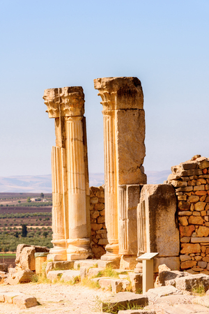 Excavations of Volubilis, an excavated Berber and Roman city in Morocco, ancient capital of the kingdom of Mauretania. Stok Fotoğraf