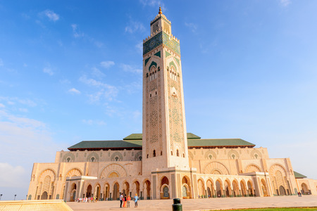 Hassan II Mosque or Grande Mosquee Hassan II, a mosque in Casablanca, Morocco. It is the largest mosque in Morocco and the 13th largest in the world.