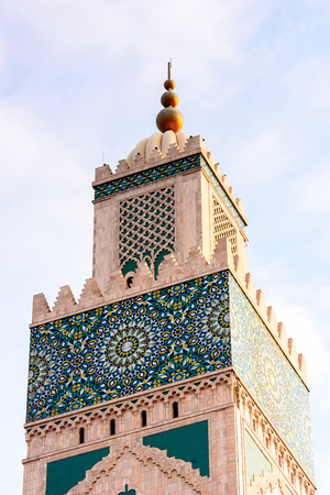 Minaret of the Hassan II Mosque or Grande Mosquee Hassan II, a mosque in Casablanca, Morocco. It is the largest mosque in Morocco and the 13th largest in the world.