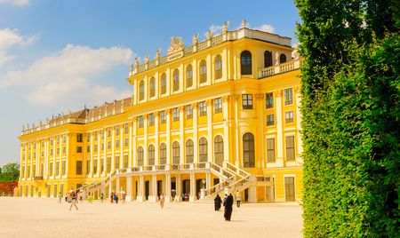 VIENNA, AUSTRIA - JUNE 14: Schonbrunn Palace on June, 17, 2013 in Vienna, Austria. Its a former imperial 1,441-room Rococo summer residence in modern Vienna,
