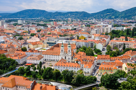 Panoramic view of the historic part of Graz, Austria. Old town of Graz is the UNESCO World heritage Stock Photo