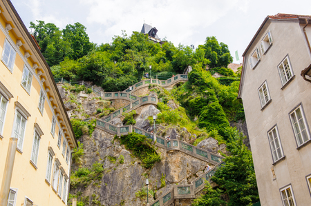 Schlossberg (Castle Hill), mountain in Graz. Part of the UNESCO World heritage in Graz, Austria