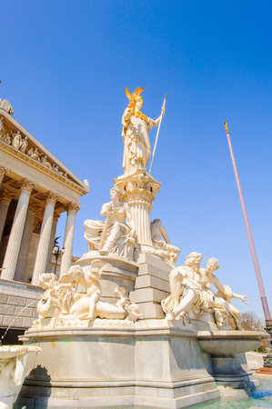 The Athena Fountain (Pallas-Athene-Brunnen) in front of the Parliament. It was created between 1893 and 1902 by Carl Kundmann, Josef Tautenhayn and Hugo Haerdlt, based on plans by Baron von Hansen.