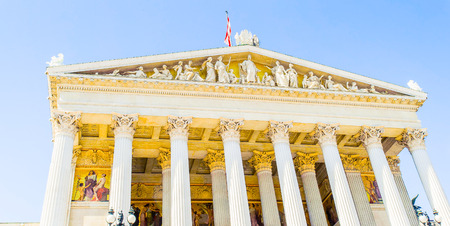 The Austrian Parliament Building  is where the two houses of the Parliament of Austria conduct their sessions. Stock Photo