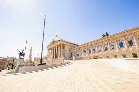 Panoramic view of the Austrian Parliament building, Viena, Austria Stock Photo