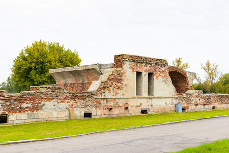 Walls of the Brest Fortress, Brest, Belarus. It is one of the Soviet World War II war monuments commemorating the Soviet resistance against the German invasion on June 22, 1941 Editorial