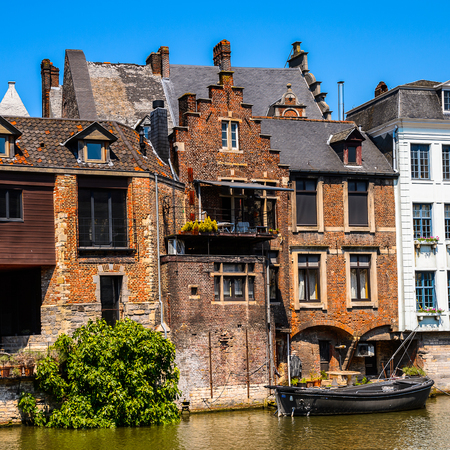 Architecture of the historic part of Ghent, Belgium. Stock Photo