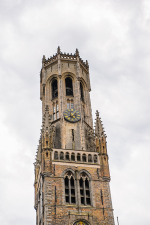 Bell tower in the Historic Centre of Bruges, Belgium. Stock Photo