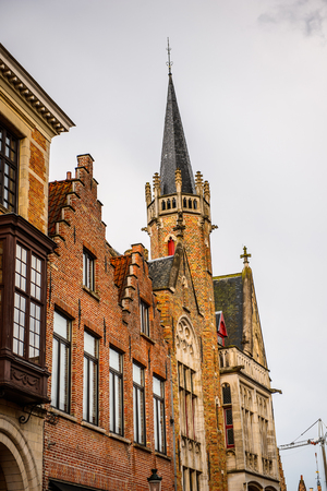 Architecture of the Market square in the Historic Centre of Bruges, Belgium.