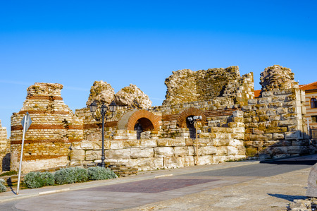 Wall around the Old City of Nesebar, UNESCO world heritage, Bulgaria Stock Photo