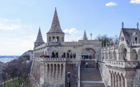Fishermans Bastion is a terrace in neo-Gothic and neo-Romanesque style situated on the Buda bank of the Danube, on the Castle hill in Budapest, around Matthias Church. Stock Photo