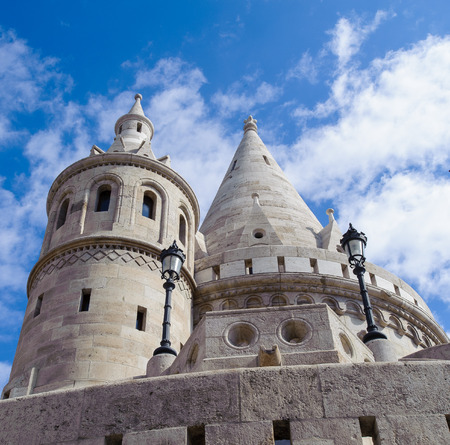 Towers of the Fishermans Bastion,  terrace in neo-Gothic and neo-Romanesque style situated on the Buda bank of the Danube, on the Castle hill in Budapest Stock Photo