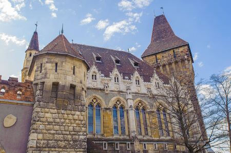 Vajdahunyad Castle  in Budaapest, Hungry, designed by Ign�c Alp�r to feature copies of several landmark buildings from different parts the Kingdom of Hungary Editorial