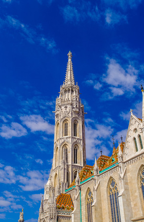 Matthias Church, a church located in Budapest, Hungary, in front of the Fishermans Bastion at the heart of Budas Castle District. Editorial