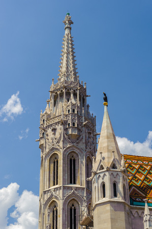 Matthias Church tower, a church located in Budapest, Hungary 版權商用圖片 - 91602210