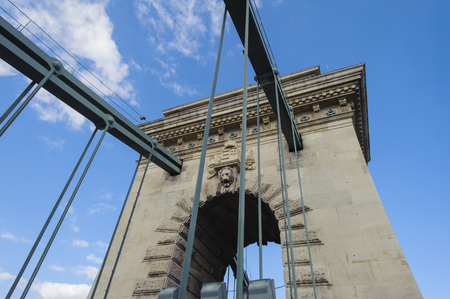 Tower of the Szechenyi Chain Bridge, Budapest, Hungary
