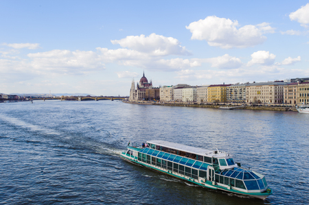 Boat over the Danube of Budapest, Hungary