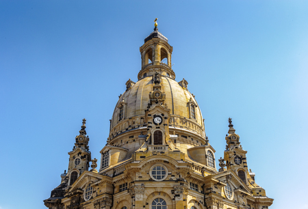 Dresden Frauenkirche (Church of Our Lady), a Lutheran church in Dresden, the capital of the German state of Saxony. One of the largest domes in Europe. Standard-Bild
