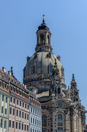Dresden Frauenkirche (Church of Our Lady), a Lutheran church in Dresden, the capital of the German state of Saxony. One of the largest domes in Europe. Stock Photo