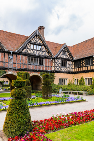 Courtyard of the Cecilienhof Palace, a palace in Potsdam, Brandenburg, Germany. Stock Photo