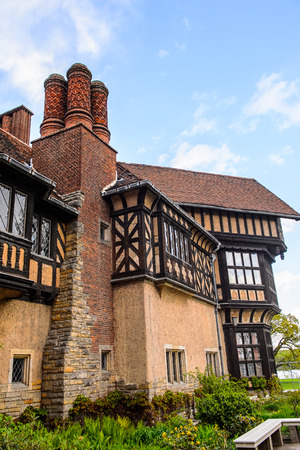 Part of the Cecilienhof Palace, a palace in Potsdam, Brandenburg, Germany.