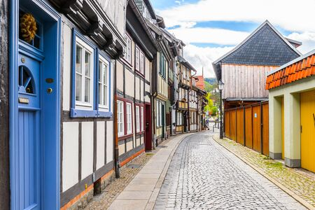 Street in Wernigerode, a town in the district of Harz, Saxony-Anhalt, Germany