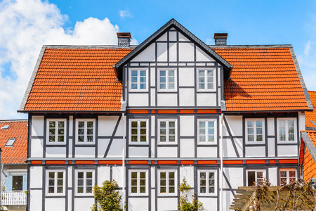 Close view of a house in the Old town of Gorlar, Lower Saxony, Germany. Old town of Goslar is a UNESCO World Heritage